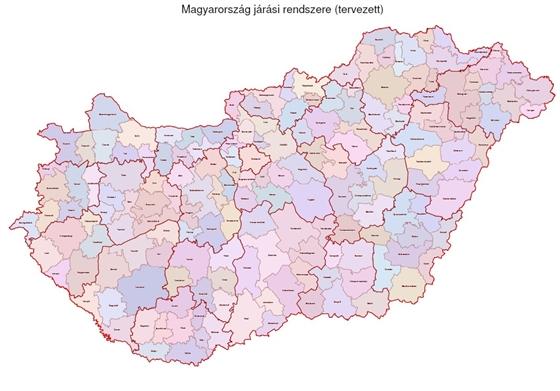 Járások tervezete országosan, forrás: www.hvg.hu