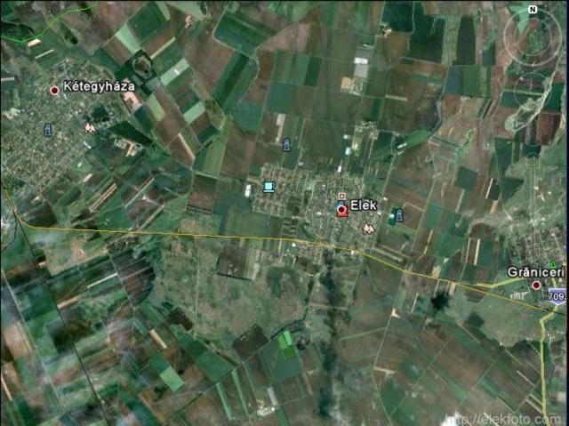 A vasútvonalunk helye a Google Earth-ben megrajzolva
