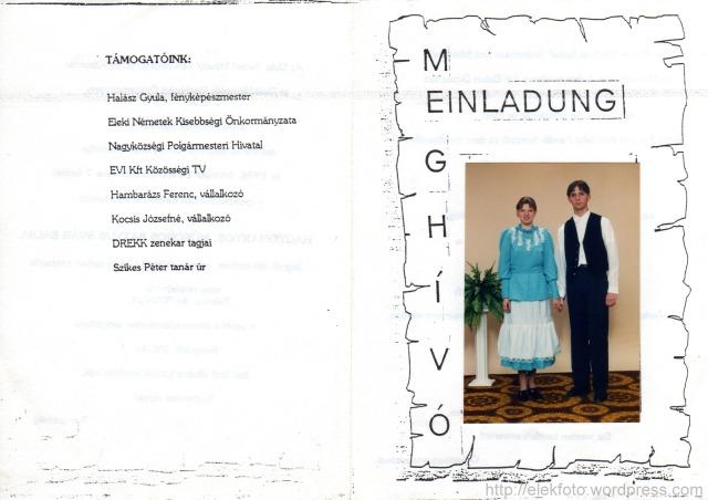 Singer Éva és Szabó Zoltán az 1996. február 10-i eleki svábbál meghívóján.