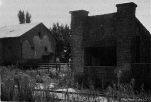 Az eleki állomás disznórakodó rámpája, a háttérben a gabonaraktár.