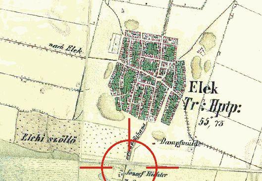 Elek a XIX. századi katonai felmérés térképén.