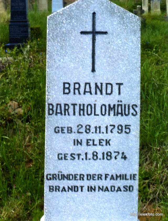 Brandt Bartholomäus síremléke Mecseknádasdon