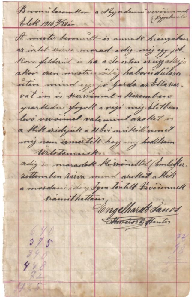 Engelhardt János bevonulása, 1916.