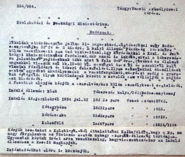 Kérvény a Közlekedési és Postaügy Minisztériumhoz 1954-ben