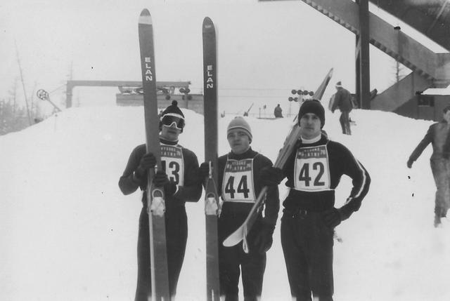 Balra Gellér Mihály, középen Molnár Gyula,  jobbra a testvér,  Gellér László az 1960-as években egy Tátra Kupán