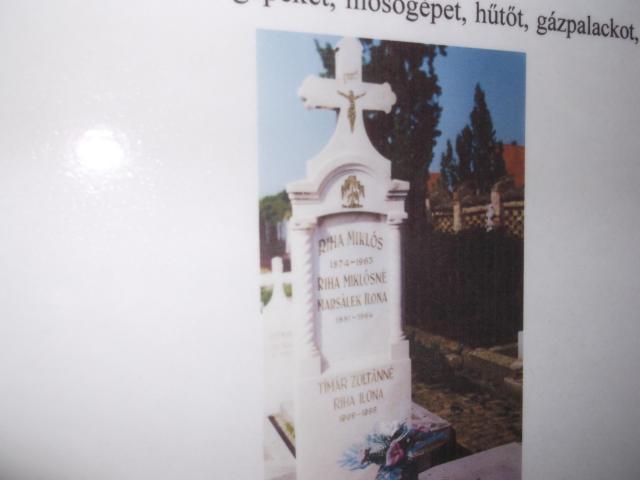 Riha Ilona sírja az eleki temetőben