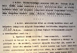 A földművelésügyi miniszter 1921-es utasítása az állatok forgalmával kapcsolatban
