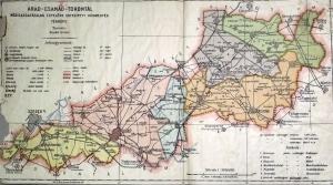 Arad-Csanád-Torontál egyesített vármegyék térképe Kogutovicz:Megyei térképek
