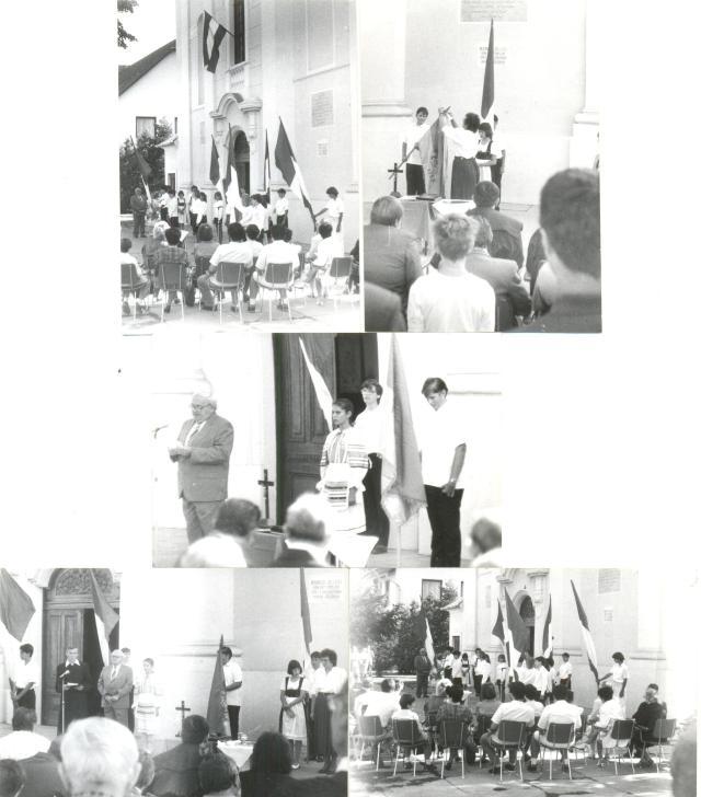 Zászlóavatás az eleki templom előtt 1993. augusztus 20-án