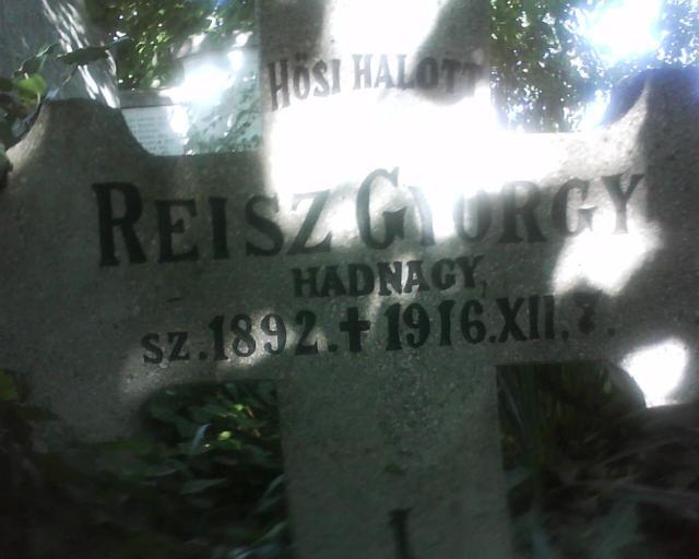 Reisz György  (1892-1916)  hadnagy sírköve Eleken