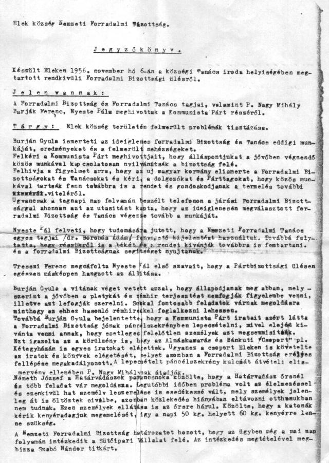 Az 1956. november 6-i jegyzőkönyv első oldala