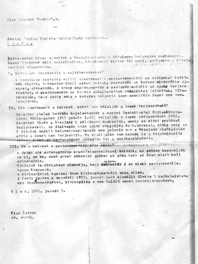 Kiss István hivatalos levele (1957. január 5.)
