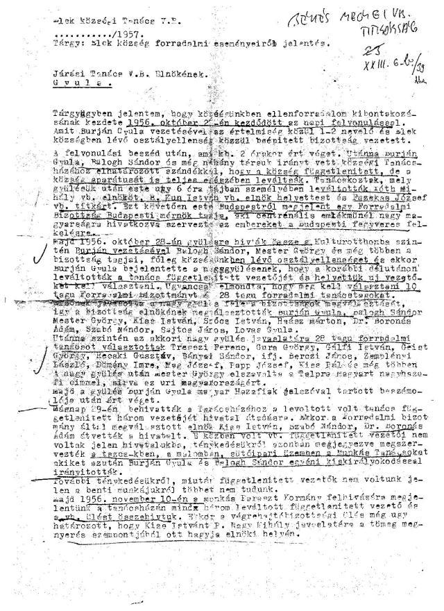 A jelentés első oldala
