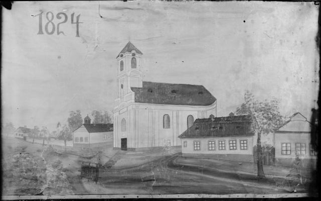 A festvény az első eleki templomot ábrázolja 1924-ben