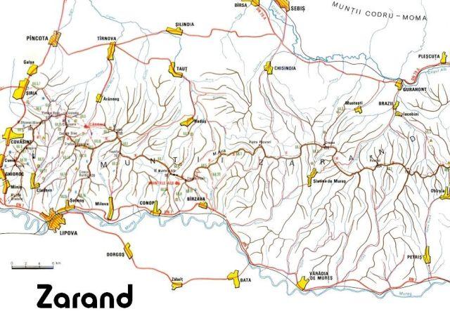 A hegység egy mai térképen (Siria-Világos)