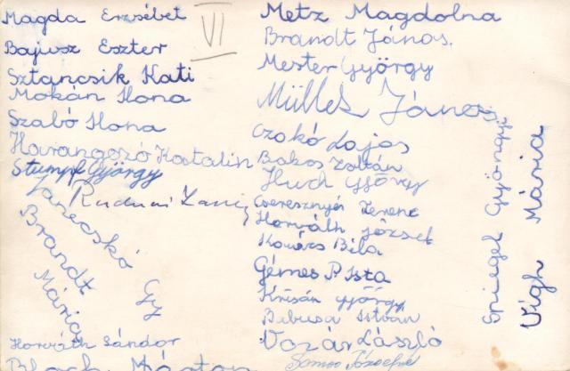 Az osztálykép hátoldala az aláírásokkal