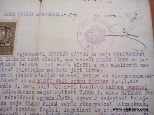 Adás vételi szerződés Kakucs pusztai területről. 1929.