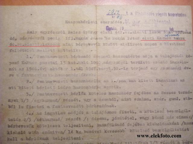 Egy haszonbérleti szerződés 1946-ból.