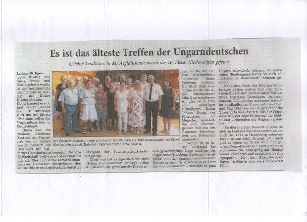 A 70. eleki búcsú Leimen-St.Ilgenben