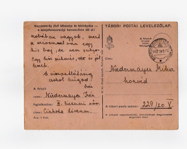 Niedermayer Irén testvérének levelezőlapot írt az orosz frontra. 1942. okt. 24.