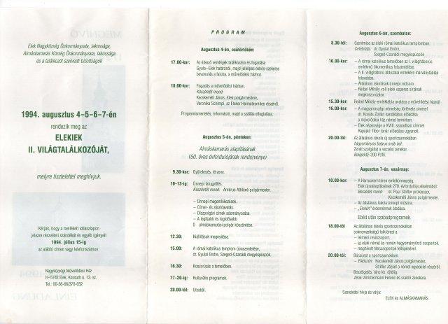 A 2. Világtalálkozó programja